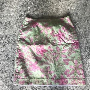 Lilly Pulitzer Green and Pink Floral Skirt